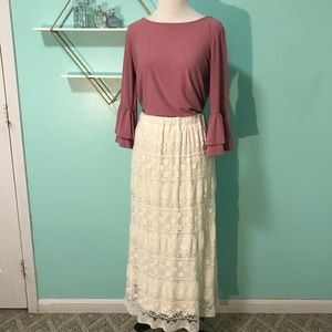 Lace long maxi modest cream skirt